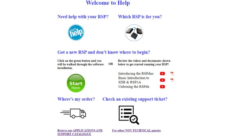 The new SDRplay Help page